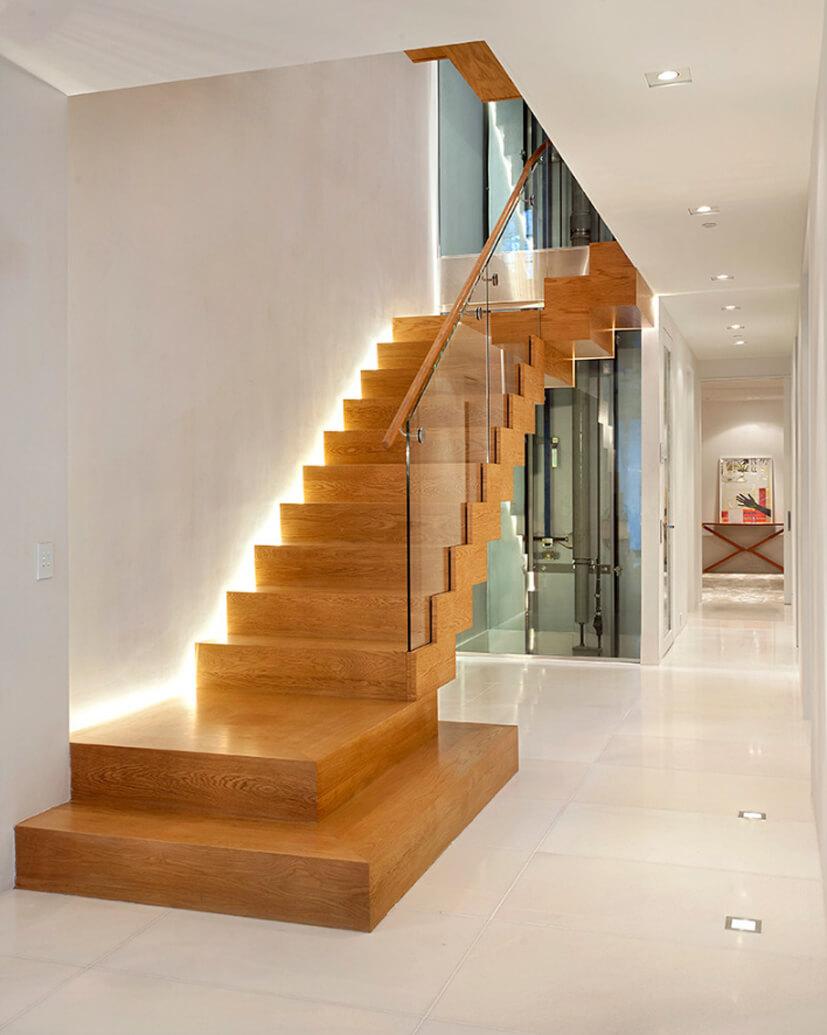 đèn cầu thang gỗ