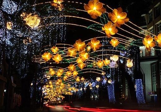 Đèn LED trang trí giúp đường phố Sài Gòn lung linh vào ngày Tết
