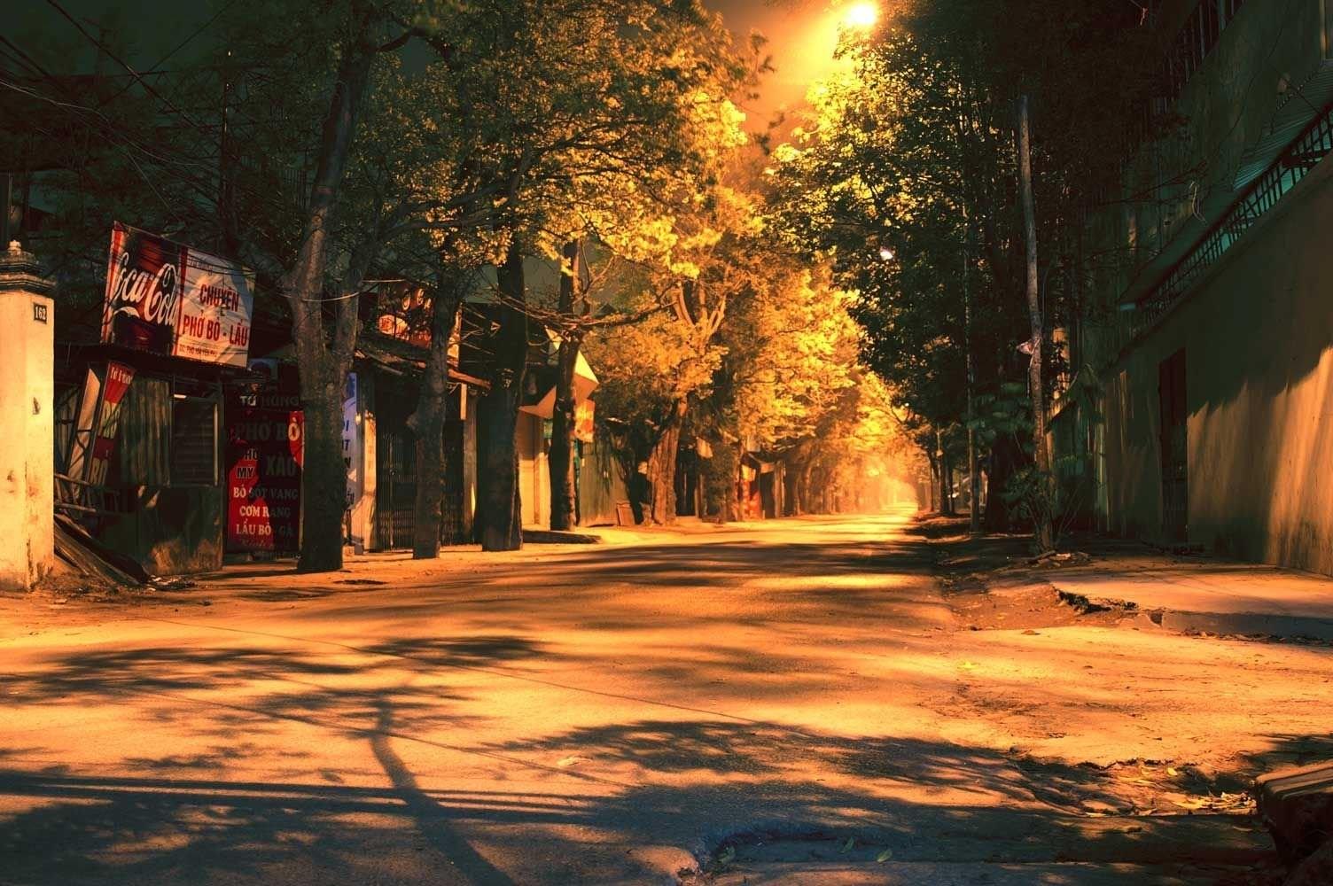 Con đường ấm áp nhờ ánh đèn đường vàng