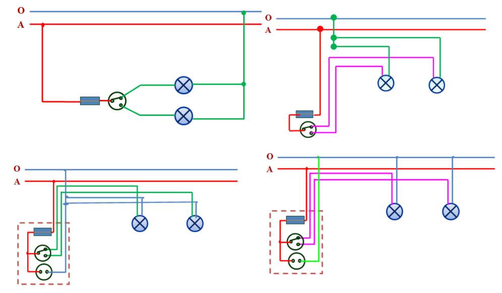 Các cách vẽ sơ đồ lắp đặt mạch điện một công tắc ba cực điều khiển hai đèn