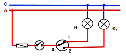 Sơ đồ nguyên lý mạch điện một công tắc ba cực điều khiển 2 đèn