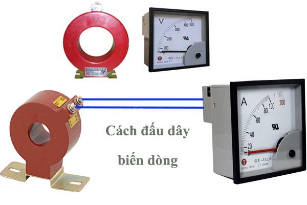 Cách đấu biến dòng vào đồng hồ Ampe